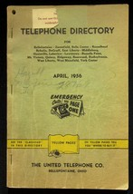 April 1956 Bellefontaine Ohio United Telephone Directory With Yellow Pages - $18.95
