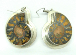 AIS Sterling Silver .925 Fossil Ammonite Large Dangle Earrings Southwestern - $148.49