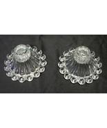 Candlestick Holders Set Of 2 Vintage Bubble Tear Drop Ribbed Clear Glass... - $14.66