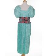 True Vtg Mary McFadden Couture Saks Dress Beaded Pleated Blue Beaded Rep... - $213.38