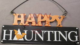 Happy Haunting Small Gothic Halloween Metal Sign NEW - $3.99