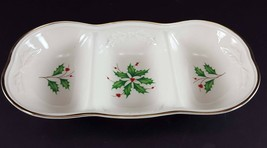 "LENOX China Holiday Dimension 3-Part Oval Divided Server 12"" Dinnerware - $19.79"