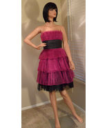 NWT BETSEY JOHNSON Raspberry Black Pleated Tulle Dress Sz 4 NEW (MAKE AN... - $222.75