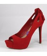 Jessica Simpson Saenna Damen Schuhe Absätze Pumps Zehenfrei Rot Größe 7.5M - $25.19