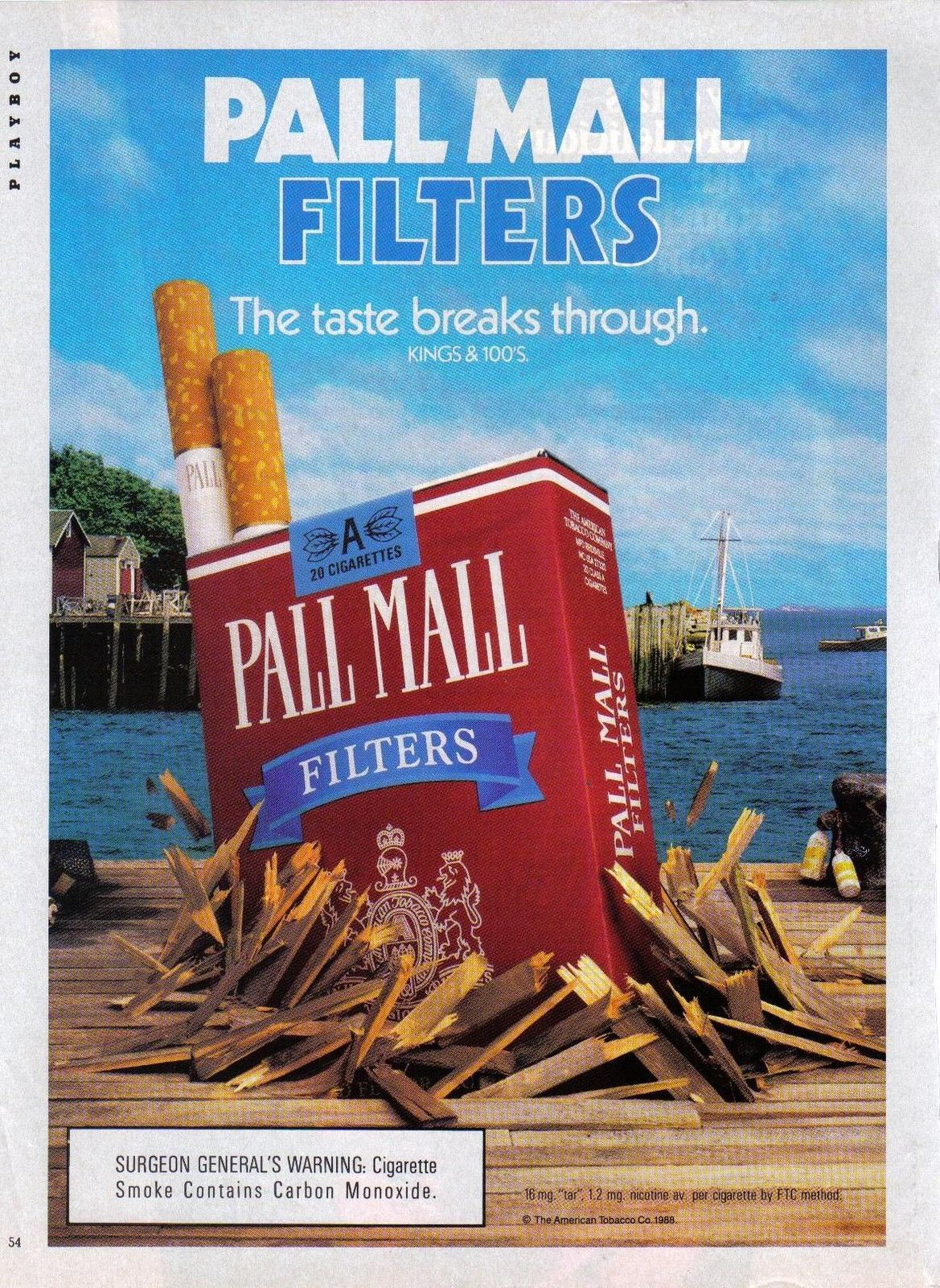 Primary image for Vintage Pall Mall Cigarette The Taste Breaks Through  Print Ad 1988 Near Mint
