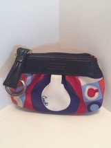 Coach Resort Op Art Coin Purse Wallet Keychain  Zip Satin Blue Red  4216... - $24.74