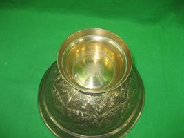 """Vintage Brass Etched Bowl Centerpiece on Pedestal Made In India Ornate 5"""" Tall image 5"""