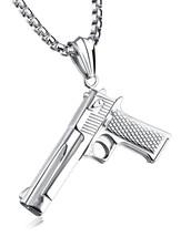 Punk Pistol Necklace For Women Men Punk Pendant Chain Men's Fashion Tita... - $37.34