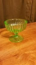 Green Depression Ribbon pattern Drinking Glass - $13.85