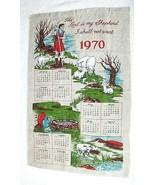 1970 Vintage Linen Calendar Towel Lord is My Shepard w Sheep Great Shape... - $18.32