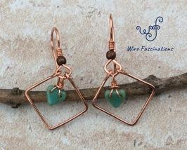 Handmade copper earrings: diamond frame with glass turquoise heart bead ... - $22.00
