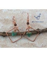 Handmade copper earrings: diamond frame with glass turquoise heart bead ... - €19,41 EUR