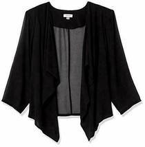 NWT Calvin Klein Women's Plus Size Chiffon Fly Front Shrug, Black Solid, 3X - $59.99