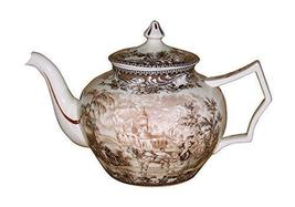 "Madison Bay Co. 10 1/2"" Carolina Brown/White Transferware Porcelain Teap... - $50.23"