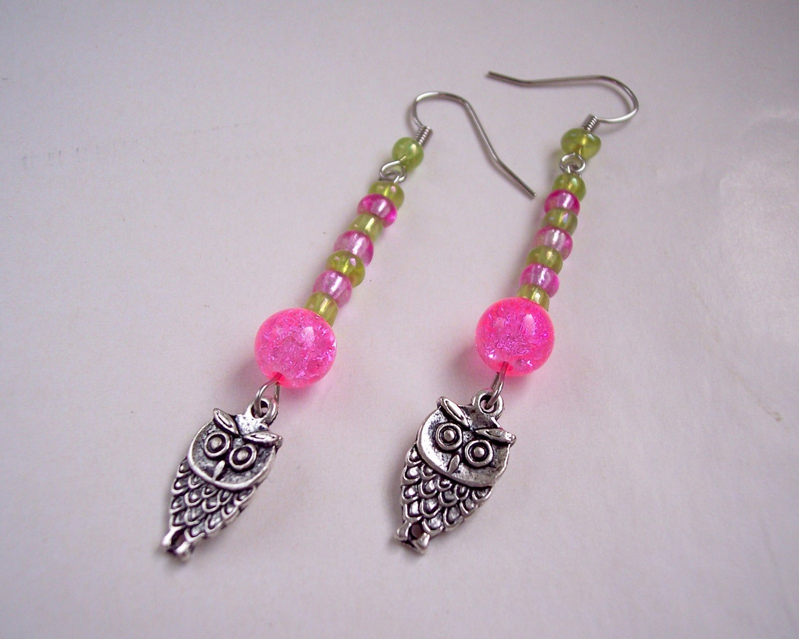 Owl Charm Earrings Green Pink and Silver