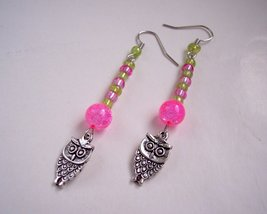 Owl Charm Earrings Green Pink and Silver image 1