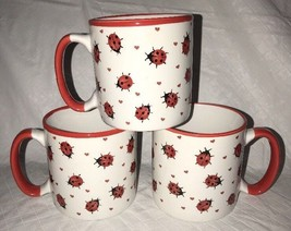 Ladybug Lady Bug 12 Oz Coffee Mug Tea Cups (3) Gibson & Gibson 2005 New - $24.99
