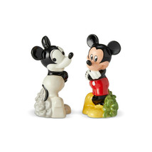 """Disney Mickey Mouse """"Then and Now"""" Salt & Pepper Shakers Set Ceramic Collectible"""