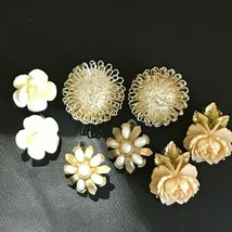 Vintage to Now Lot of Faux pearl Celluloid Plastic Dimensional Rose Wire... - $6.79