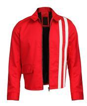 Elvis Presley Retro White Striped Speedway Steve Classic Red Cotton Jacket image 2