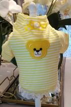 XS Yorkie Tea Cup Puppy Pom Chihuahua Yellow Stripe Bear Dress Lace Mini... - $13.99