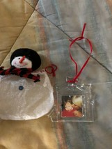MiKASA Glass Ornament Christmas Frame Small new in Snowman gift bag - $12.87