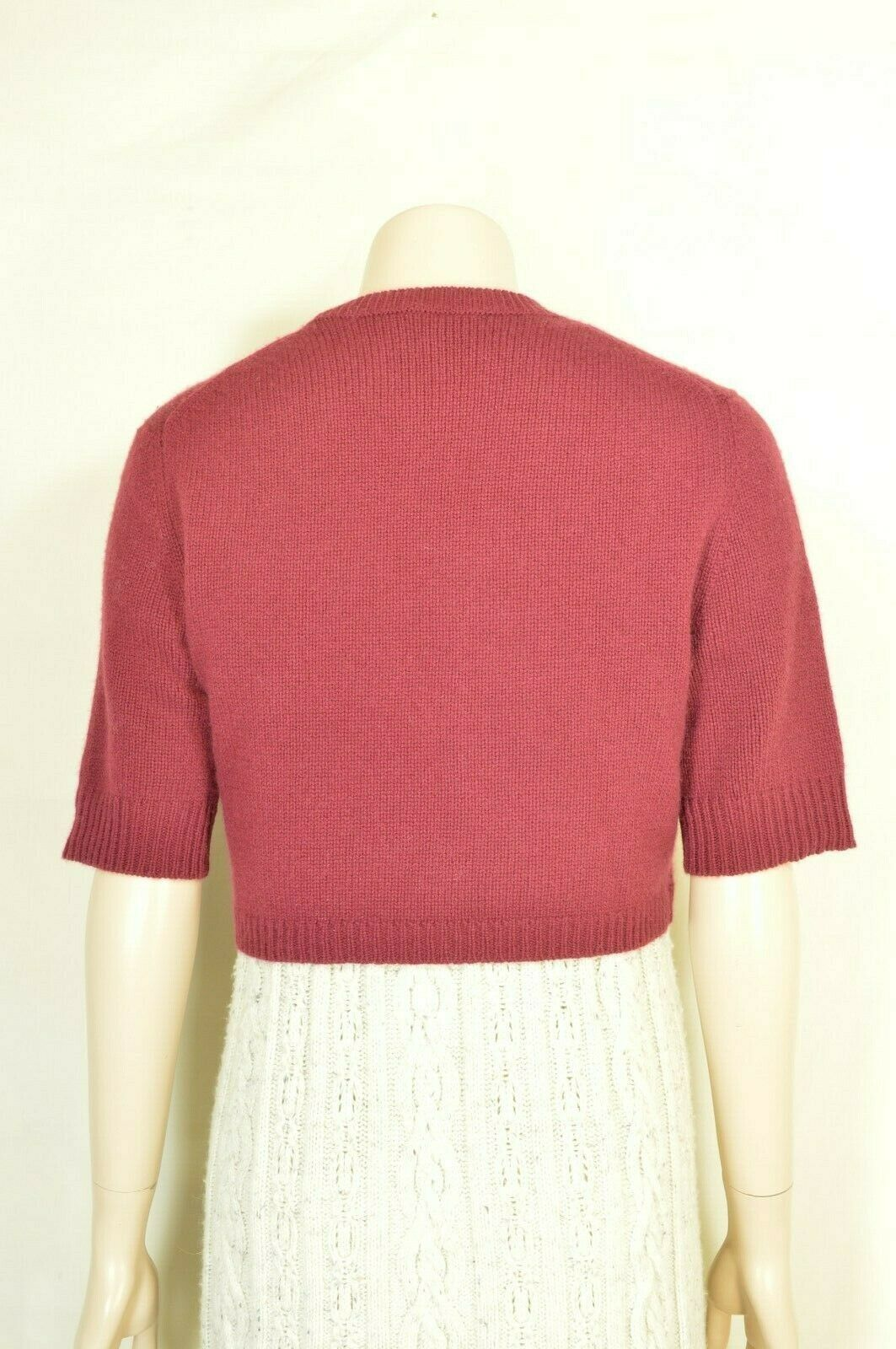 Neiman Marcus sweater M NWT red 100% cashmere shrug bolero cropped $195 new image 12