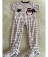 Carters Boys Gray White Striped Penguin Fleece Long Sleeve Pajamas 3T  - $6.43