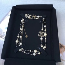 Authentic Chanel CC Logo Long Beaded 2 Tone Faux Pearl Necklace Gold Black - $1,199.99
