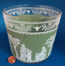 Retro Glass Ice Bucket Green Hellenic Like Jasperware Jeanette 1960s Sal... - $24.00