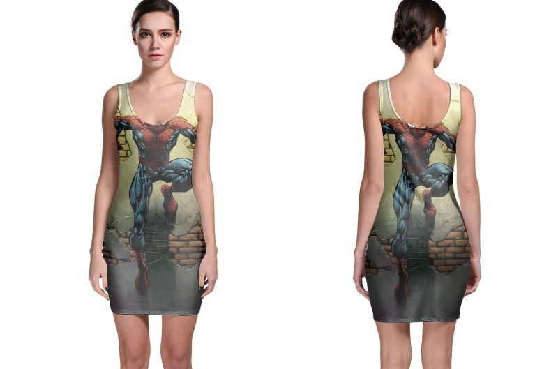 Spiderman in the wall bodycon dress