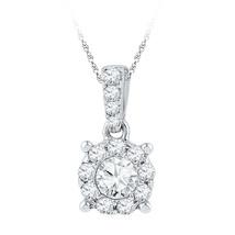 10k White Gold Womens Round Diamond Solitaire Circle Frame Pendant 1/2 Cttw - $629.00