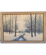 Antique Rahael Senseman Water Color Painting Winter Stream Landscape Bea... - $377.99