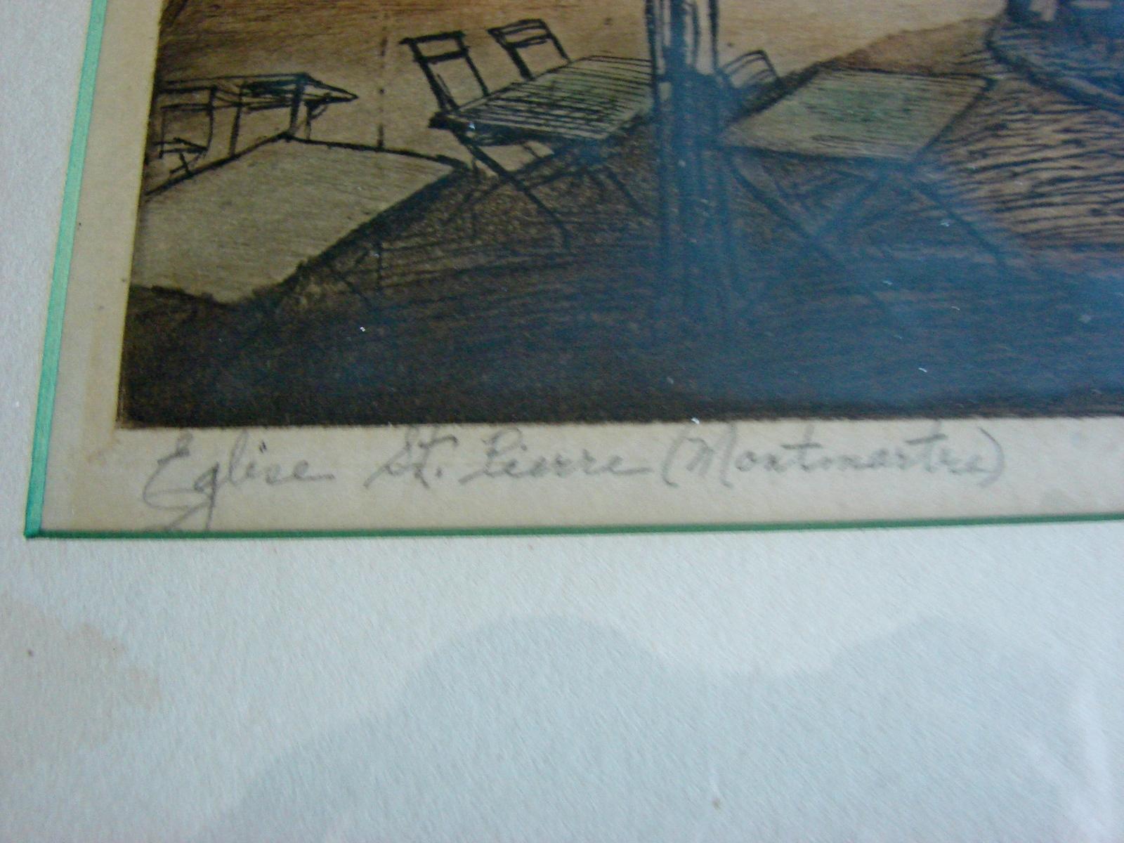 """Antique Etching Framed - Signed """"F. Roux"""" - St. Pierre De Montmartre"""