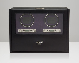 WOLF Blake 2.7 Double Watch Winder Battery Operated Black Leather Dual Motor 2 - $920.00
