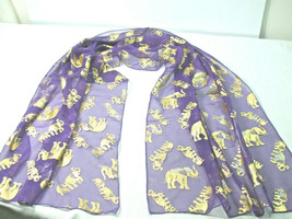City Silk Company Women's Scarf Shawl Wrap Purple Sheer Gold Elephant 20... - $9.85