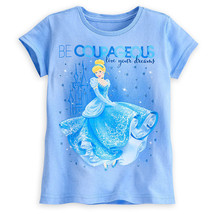 "Disney Store Cinderella Dreams ""Be Courageous"" Tee T-Shirt Girls Blue, X... - $12.00"