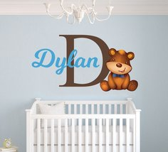 Custom Name & Initial Teddy Bear - Baby Boy - Nursery Wall Decal For Bab... - $16.99+