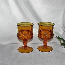 INDIANA GLASS KINGS CROWN GOLD AMBER SHERRY GLASSES 2 GOBLETS THUMBPRINT... - $8.09