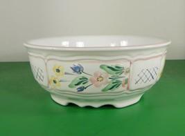 Herend Hungary Village Pottery Blue TRELLIS Round Vegetable Serving Bowl Floral - $45.49