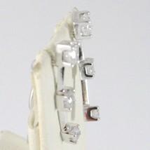 DROP EARRINGS WHITE GOLD 18K WITH ZIRCON, EAR CLIMBER, TRILOGY POLE image 2