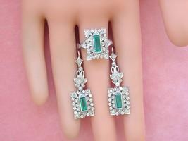 VINTAGE 1.9ctw DIAMOND 1.4ctw FINE EMERALD 18K COCKTAIL EARRINGS & RING ... - $2,969.01