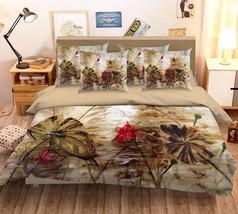 3D Painted Lotus Bed Pillowcases Quilt Duvet Cover Set Single Queen King Size AU - $90.04+
