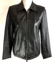 Talbots Womens Leather Jacket 4 Small Black Buttery Soft Fully Lined Zip... - $69.99