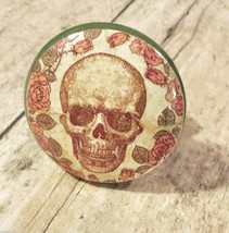 4 Handmade Skull and Roses Knob Drawer Pulls, Birch Wood, Cabinet Skeleton Knobs - $23.76