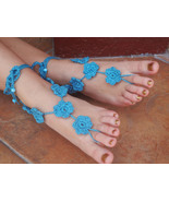 Crocheted Barefoot Sandals Flowers w/beads...Ad... - $12.00