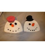Hand crocheted little snowman & woman beanie/cap/ hat costume/photograph... - $25.00