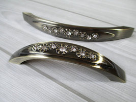 "5"" Dresser Pull Drawer Pulls Handles Glass Crystal Cabinet Handle Bronze... - $8.50"