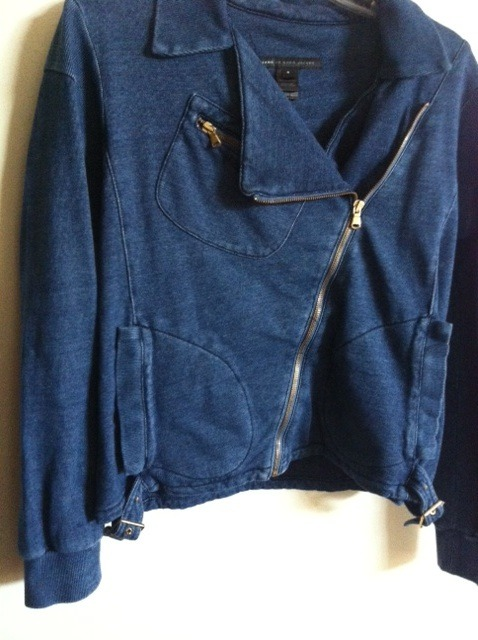 MARC JACOBS indigo denim heavy duty BIKER JACKET NWT asymmetric zip front Small