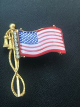 Vintage Plastic USA Flag in Goldtone Tassel Setting w Clear Rhinestones ... - $13.09